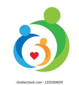 family,parent,kid,heart,logo,parenting,care,circle,health,education,symbol icon design vector