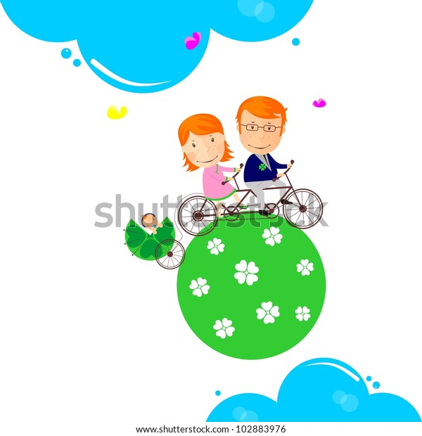 Familys Earth Cute Background Stock Vector Royalty Free 102883976