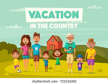 Family's vacation in the countryside. Cartoon vector illustration