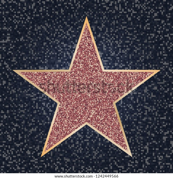 Famous actor star. Bright vector star on celebrity boulevard. Walk of fame. Glitter star on dark granite texture. Personal achievements concept. Success symbol. Vector illustration.
