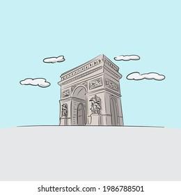 Famous Arc de Triomphe Paris hand drawn with black lines illustration vector