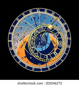 Famous astronomical clock at Prague, Czech Republic