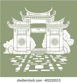 Famous Buddhist temple shape. Clip art image for unique design of travel tour promotion, post card, invitation, web, greeting, banner, poster, ticket, flyer, template, booklet, leaflet, brochure.