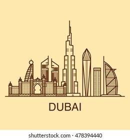 Famous buildings of Dubai line art ilustration in warm colors.