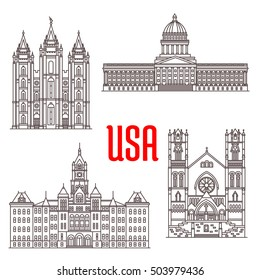 Famous buildings icons of USA. Salt Lake Temple, Utah State Capitol, Salt Lake City and County Building, Cathedral of the Madeleine. American architecture landmarks for souvenirs, travel map elements