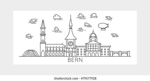 Famous buildings, landmarks and monuments. Skyline silhouette line design linear art style