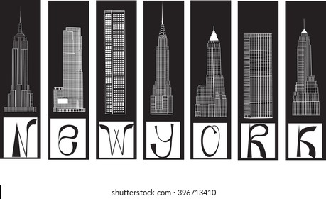 famous buildings in New York City . EPS10
