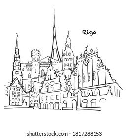 Famous buildings of Riga, Latvia Composition. Hand-drawn black and white vector illustration. Grouped and movable objects.