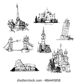 Famous buildings of the world. Collection of an hand drawn illustrations. Sightseeing trip. Freehand drawing. Isolated on white background.
