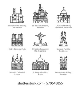 Famous Christian churches & cathedrals, Christ the Redeemer statue. City travel landmarks. Thin black line art icons with flat design elements. Modern linear style illustrations isolated on white.