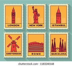 Famous Cities Stamp Collection