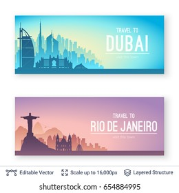 Famous city views. Flat well known silhouettes. Vector illustration easy to edit.