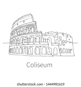 Famous Coliseum drawing sketch illustration in Rome. Vector illustration