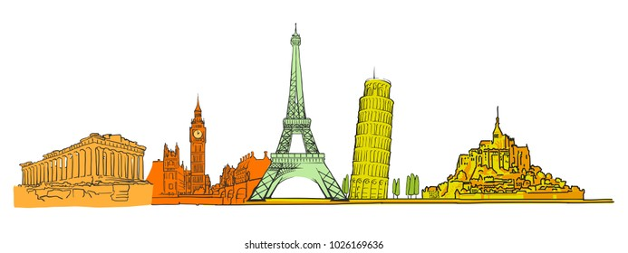 Famous colored landmarks set. Hand-drawn sketches in beautiful outlines and colors. Modern vector illustration in vintage style.