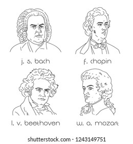 Famous composers set. Portraits of famous composers.