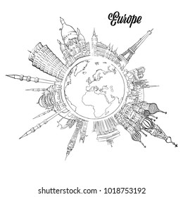 Famous European Landmarks on Globe. Hand drawn outline illustration for print design and travel marketing