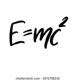 The famous formula  E=mc2 vector calligraphy. Formula expressing the equivalence of mass and energy.