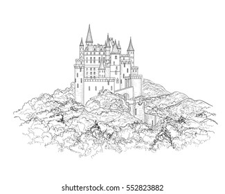 Famous French Castle Landscape Travel France Background Building On The Hill Skyline Etching