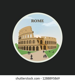 Famous historical landmark Coliseum in Italy. Vector illustration of Rome with walking people around Coliseum - Vector