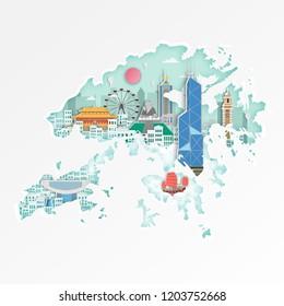 Famous Hongkonglandmark on map for travel poster,Hongkong in paper art style.
