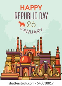 Famous Indian monuments. Vector line art. Happy republic day