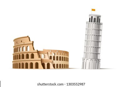 Famous italian landmarks - the leaning tower of pisa and coliseum of rome. Ancient architectural monuments, old buildings. Ruins of gladiators fights. 3d Travelling and tourism design vector elements