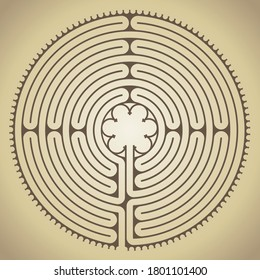 The famous labyrinth of the Chartres cathedral, France, vector illustration