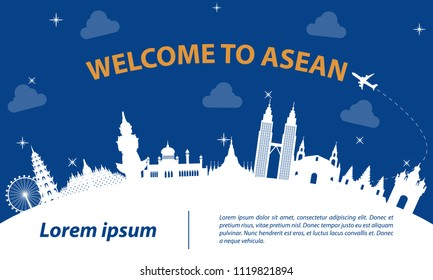 famous landmark of ASEAN,travel destination,silhouette design with white  and dark blue color,vector illustration