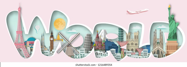 Famous landmark for travel ,England,France,Spain,America,China,Japan,Malasia,singapore,Italy,Hongkong,Turkey,Taiwan,Dubai in paper art style.