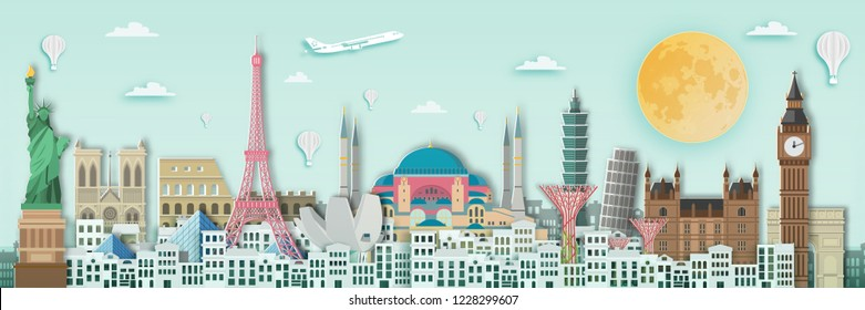Famous landmark for world travel ,England,France,Spain,America,China,Japan,Malasia,singapore,Italy,Hongkong,Turkey,Taiwan,Dubai in paper art style.