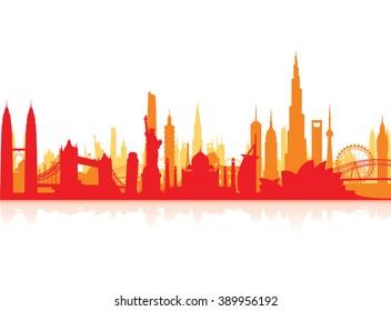famous landmarks cityscape background