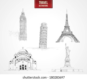 Famous Monument - Travel Destinations Set