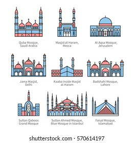 Famous mosques & Islam's holiest places. City travel landmarks. Thin line art icons with flat colorful design elements. Modern linear style illustrations isolated on white.