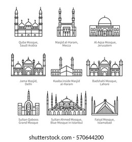 Famous mosques & Islam's holiest places. City travel landmarks. Thin black line art icons with flat design elements. Modern linear style illustrations isolated on white.