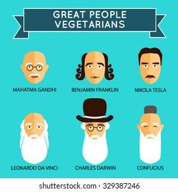 Famous people.Great people - vegetarians. Vegetarianism. Vector Icons.