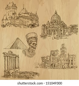 Famous places and Architecture around the World (set no.4).Collection of hand drawn illustrations (originals,no tracing).Each drawing comprise of two layers of outlines, colored background is isolated