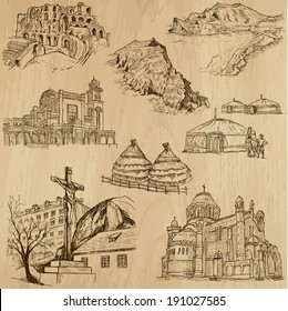 Famous places and Architecture around the World (set no.25).Collection of hand drawn illustrations (originals,no tracing).Each drawing comprise of two layers of lines, colored background is isolated