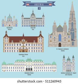 Famous Places in Austria: Karlskirche - Vienna, Eggenberg Palace - Graz, Town Hall - Graz, St. Stephen's Cathedral - Vienna, Belvedere Palace - Vienna, Cathedral St. Rupert and Vergilius - Salzburg