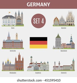 Famous Places cities in Germany. Bonn, Munster, Karlsruhe, Mannheim, Wiesbaden, Augsburg and Chemnitz. Set 4