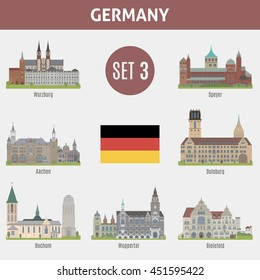 Famous Places cities in Germany. Wurzburg, Speyer, Aachen, Duisburg, Bochum, Wuppertal and  Bielefeld. Set 3