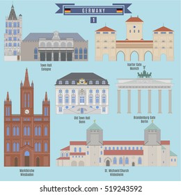Famous Places in Germany: Town Hall, Cologne; Town Hall, Bonn; Marktkirche, Wiesbaden; Isartor Gate, Munich; Brandenburg Gate, Berlin