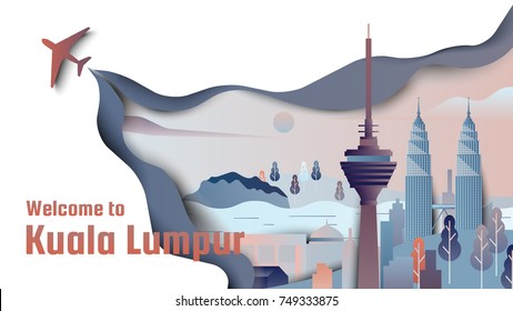 Famous places in Kuala Lumpur, Malaysia, blue and orange tones, paper cutting style