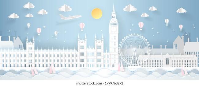 Famous Places in London UK. Paper art vector illustration.