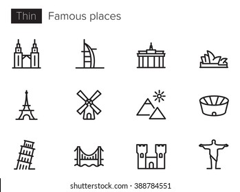 Famous places vector icons set Thin line outline