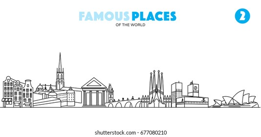 Famous places of the world 2. Landmarks vector illustration in linear style.