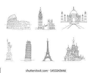 Famous places of world - Coliseum and Eifel Tower, Big Ben and Taj Mahal, Statye of liberty and Leaning Tower of Pisa. Hand drawing sketch illustration world buildings. Vector illustration