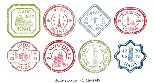 Famous places of world on Grunge Postal Stamp - Coliseum and Eifel Tower, Big Ben and Taj Mahal, Statye of liberty and Leaning Tower of Pisa. Vector illustration