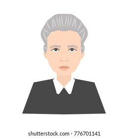 Famous scientist Marie Curie portrait isolated on white background. Stock vector illustration of a celebrity person, nobel prize winner, physicist.