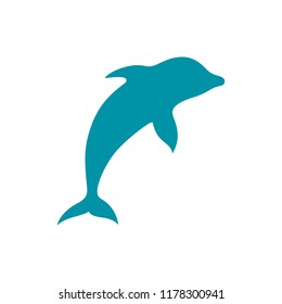 A famous spectacular dolphin jump, flat vector icon