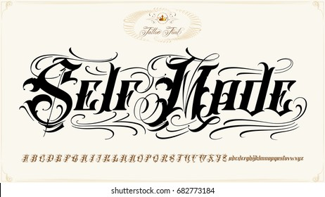 is famous tattoo old english vector lettering